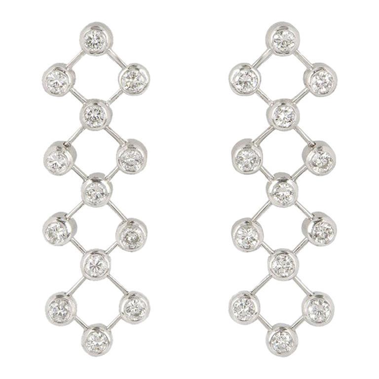 Tiffany & Co. Platinum Diamond Drop Earrings For Sale