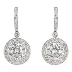 Tiffany & Co. Platinum Diamond Earrings 3.03 Carat TDW