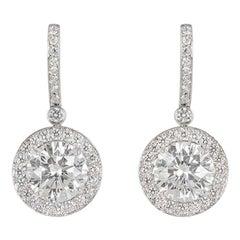 Tiffany & Co. Platinum Diamond Earrings 3.03 Carat TDW