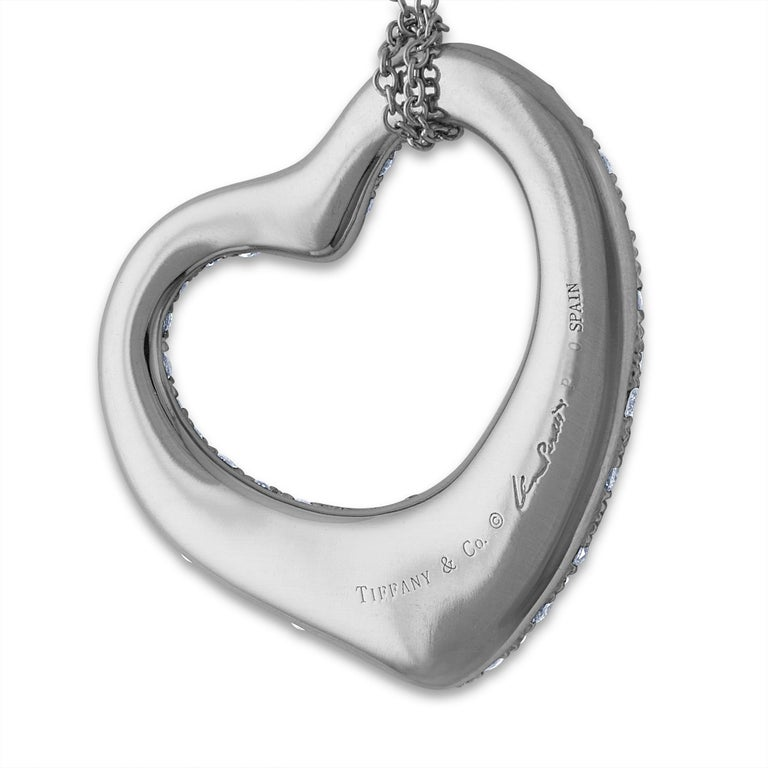 Tiffany & Co. Platinum Diamond Elsa Perretti Open Heart Necklace In Excellent Condition For Sale In New York, NY