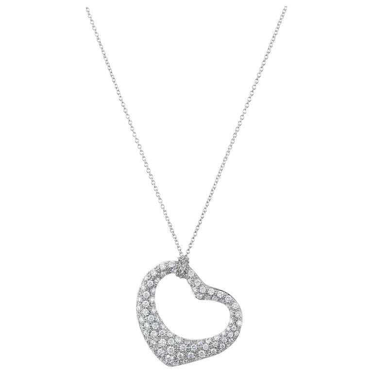 Tiffany & Co. Platinum Diamond Elsa Perretti Open Heart Necklace For Sale