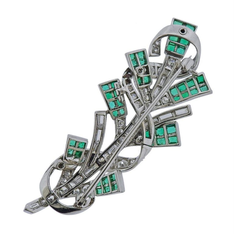Tiffany & Co. Platinum Diamond Emerald Brooch Pin In Excellent Condition For Sale In New York, NY