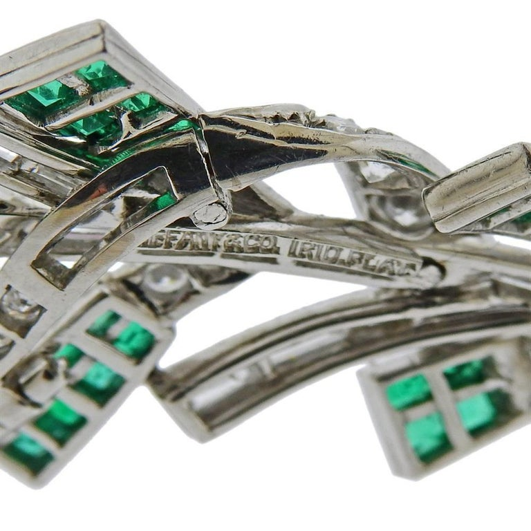 Women's Tiffany & Co. Platinum Diamond Emerald Brooch Pin For Sale