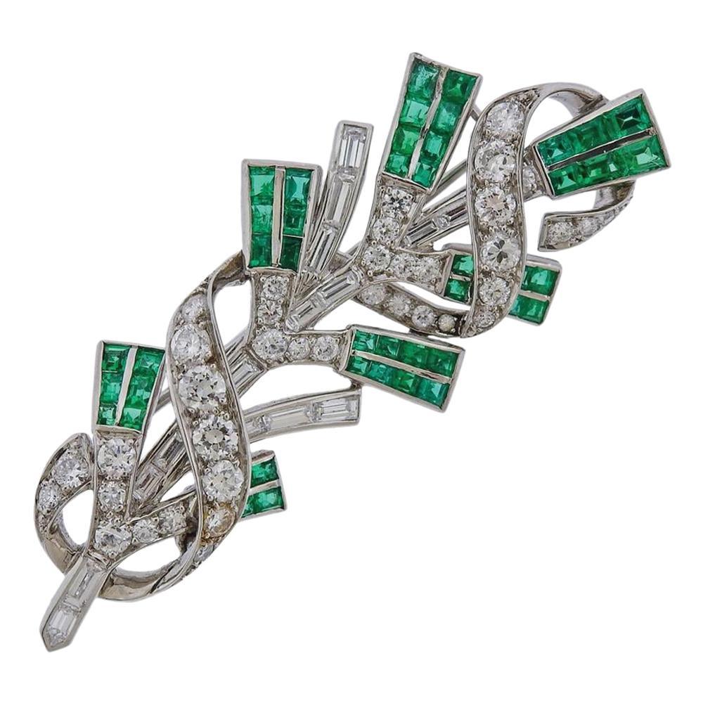 Tiffany & Co. Platinum Diamond Emerald Brooch Pin