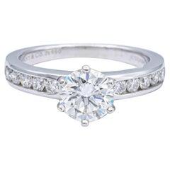 Tiffany & Co. Platinum Diamond Engagement Ring 1.46 Cts. TW IVVS2 Diamond Band