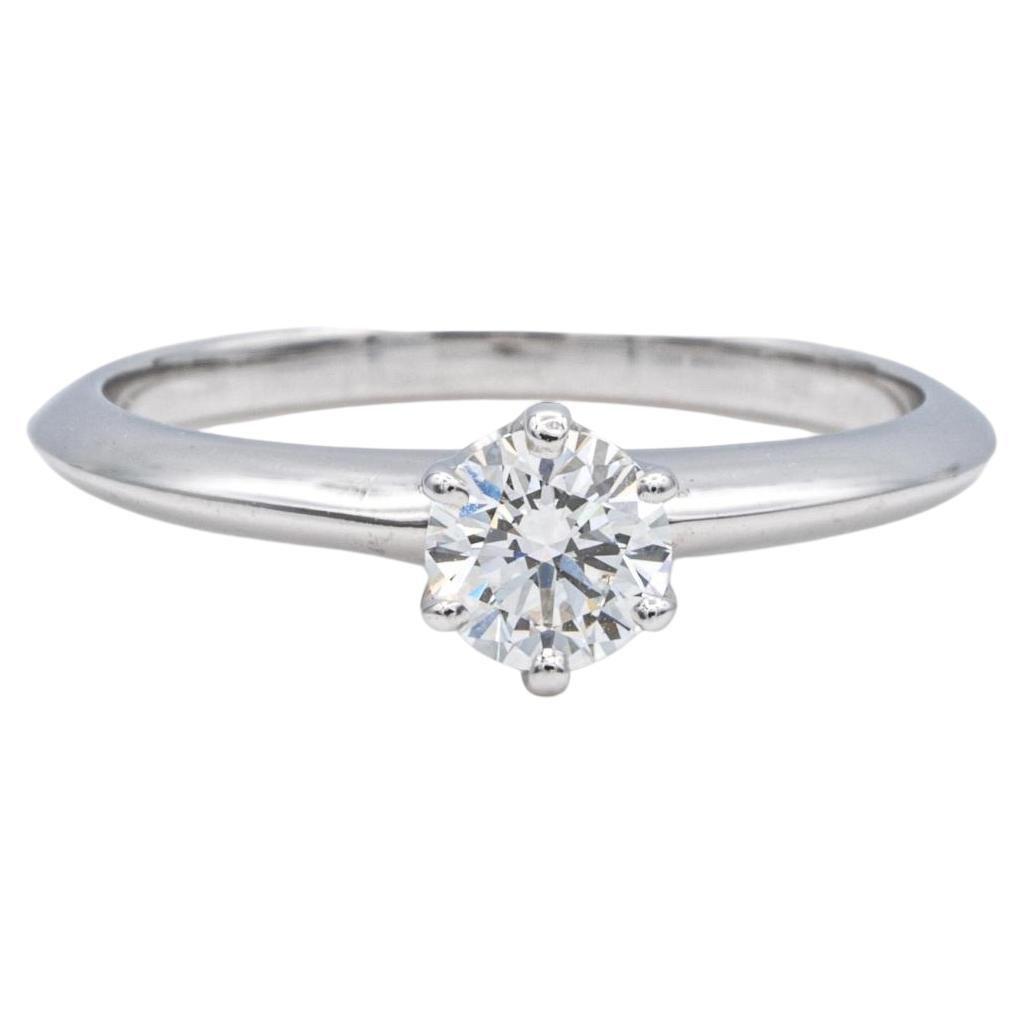 Tiffany & Co. Platinum Diamond Engagement Ring .41Ct Center Solitaire H VS1
