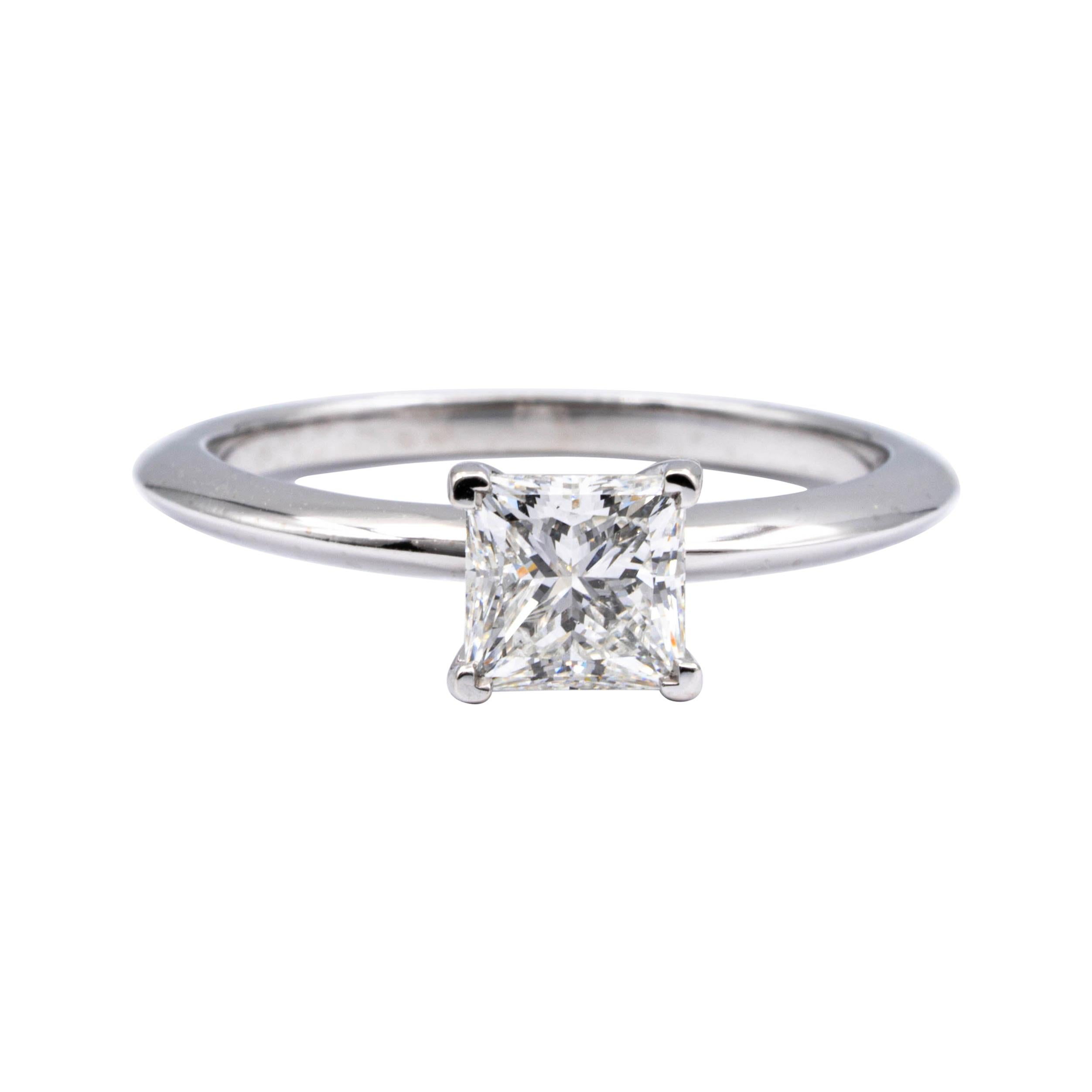 Tiffany & Co. Platinum Diamond Engagement Ring .93 Ct Princess Cut Solitaire