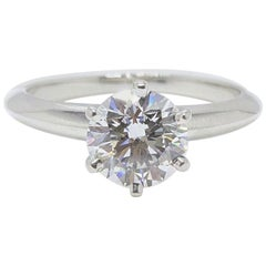 Tiffany & Co. Platinum Diamond Engagement Ring Round 1.04 Carat I VS1