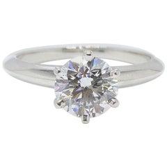 Tiffany & Co. Platin Diamant Verlobungsring Ring rund 1,04 Carat I VS1