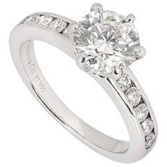 Tiffany & Co. Platinum Diamond Engagement Solitaire Ring 1.38 Carat