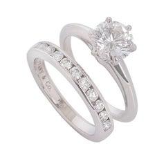 Tiffany & Co. Platinum Diamond Engagement with Diamond Half Eternity Ring