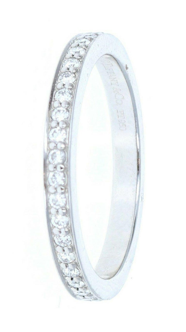 Tiffany & Co Platinum & Diamond Eternity Band In Good Condition For Sale In Beverly Hills, CA