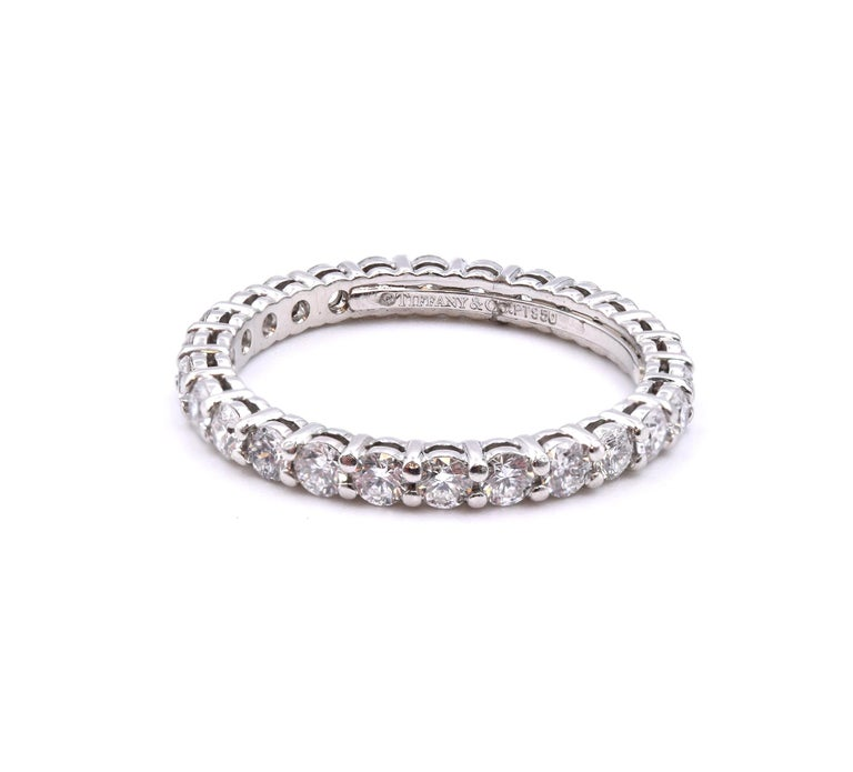 Tiffany & Co. Platinum Diamond Eternity Band In Excellent Condition For Sale In Scottsdale, AZ