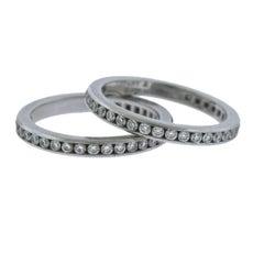 Tiffany & Co. Platinum Diamond Eternity Wedding Band Ring Set