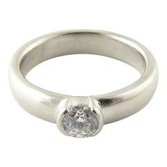 Tiffany & Co. Platinum Diamond Etoile Solitaire Half Bezel Diamond Ring .39ct