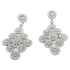 Tiffany & Co. Platinum Diamond Floral Chandelier Earrings