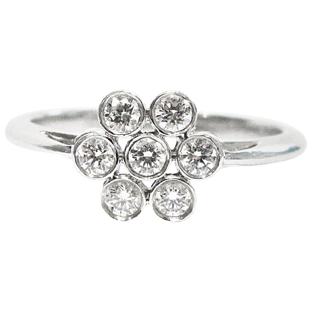Tiffany & Co. Platinum Diamond Flower Cluster Ring