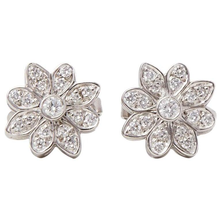 cbe2f1ee7 Tiffany and Co. Platinum Diamond Flower Enchant Stud Earrings at 1stdibs