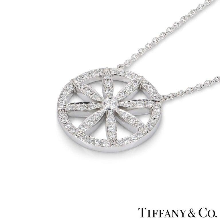 Round Cut Tiffany & Co. Platinum Diamond Flower Necklace For Sale