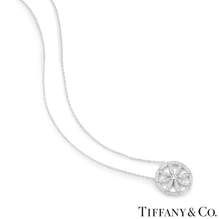 Tiffany & Co. Platinum Diamond Flower Necklace In Excellent Condition For Sale In London, GB