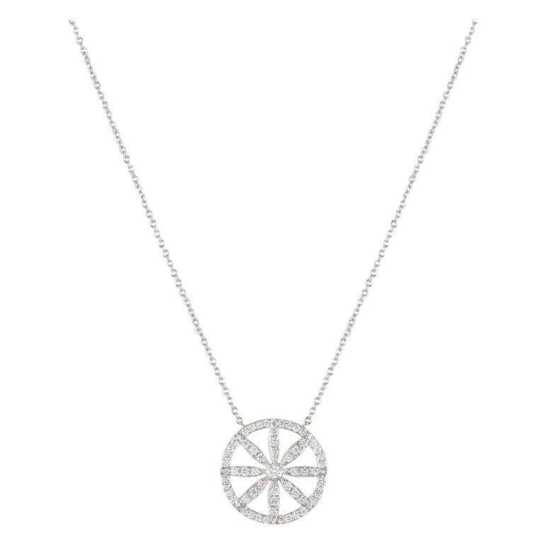 Tiffany & Co. Platinum Diamond Flower Necklace For Sale