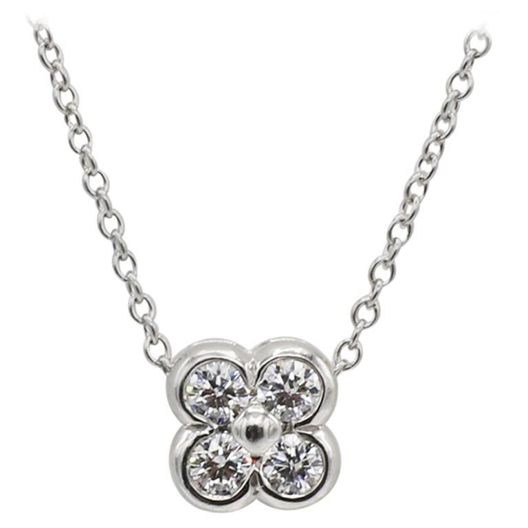Tiffany & Co. Platinum Diamond Flower Pendant Necklace
