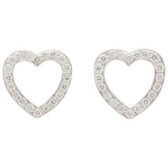 Tiffany & Co. Platinum Diamond Heart Earrings