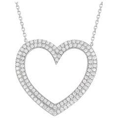 Tiffany & Co. Platinum Diamond Heart Necklace 0.57 Carat