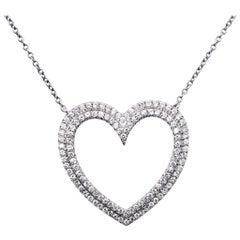 Tiffany & Co. Platinum Diamond Heart Necklace