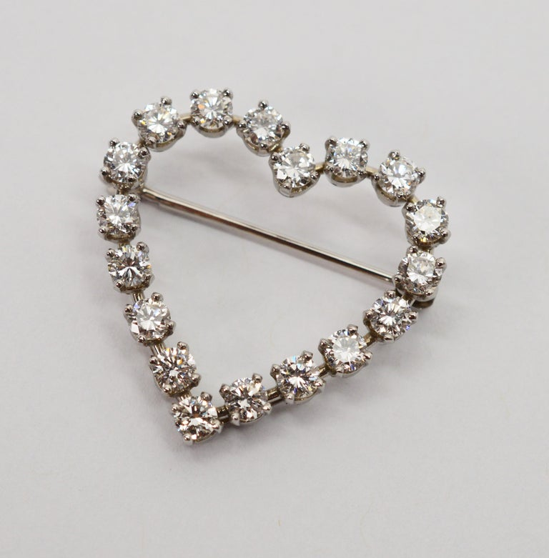 Brilliant Cut Tiffany & Co. Platinum and Diamond Heart Pin Brooch