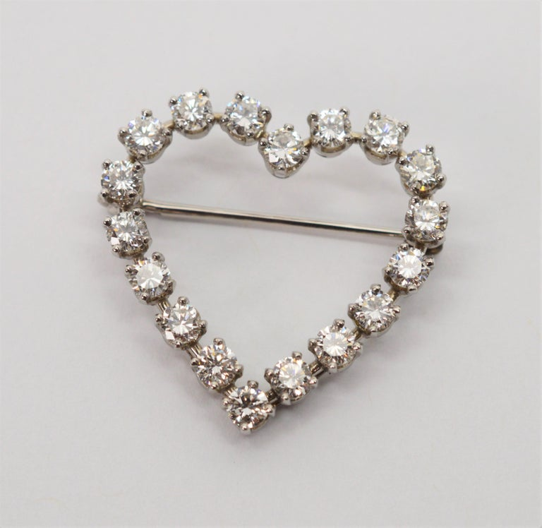 Tiffany & Co. Platinum and Diamond Heart Pin Brooch 2