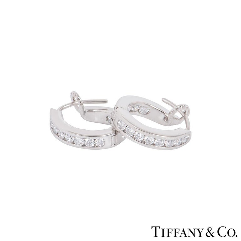 Tiffany & Co. Platinum Diamond Hoop Earrings In Excellent Condition For Sale In London, GB