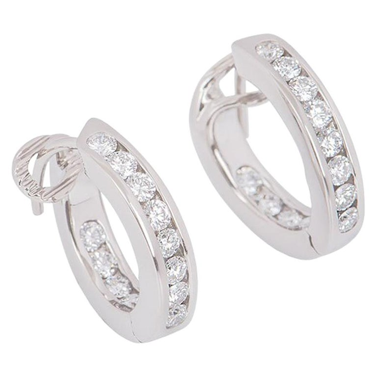 Tiffany & Co. Platinum Diamond Hoop Earrings For Sale
