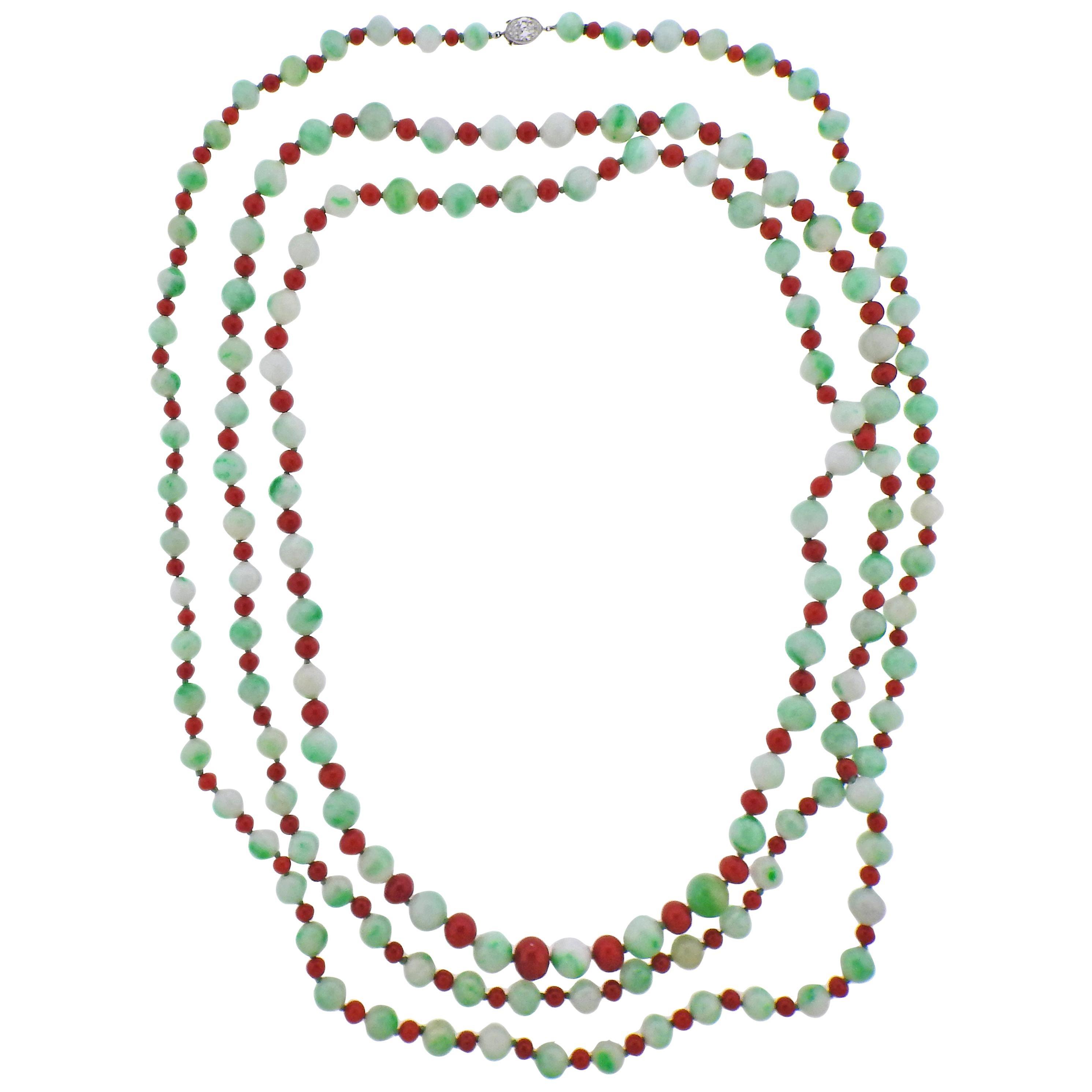 Tiffany & Co Platinum Diamond Jade Coral Long Necklace