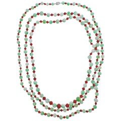 Tiffany & Co Platinum Diamond Jade Coral Long Necklace