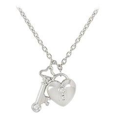 Tiffany & Co. Platinum Diamond Key and Lock Pendant