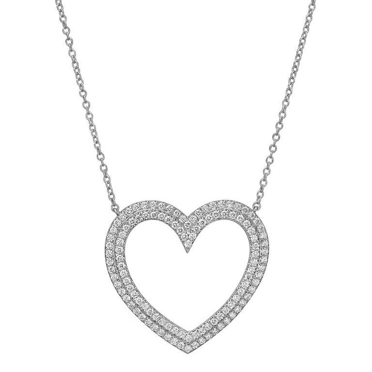 Round Cut Tiffany & Co. Platinum Diamond Open Heart Pendant For Sale