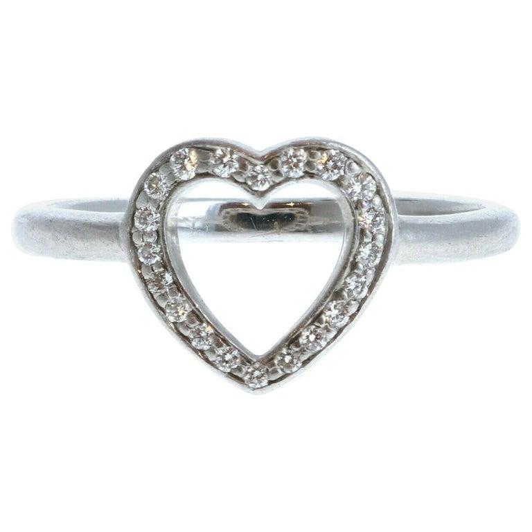 Tiffany & Co Platinum & Diamond Open Heart Ring For Sale