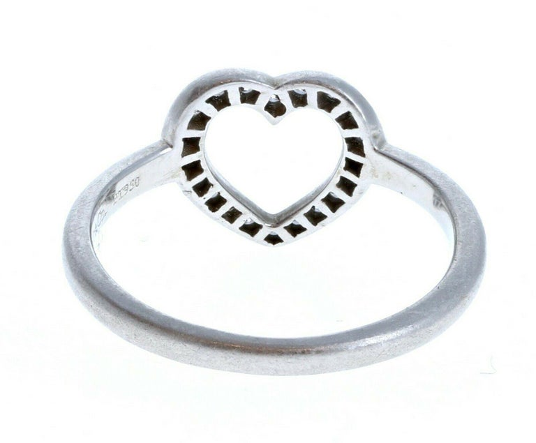 Tiffany & Co Platinum & Diamond Open Heart Ring In Good Condition For Sale In Beverly Hills, CA