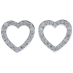 Tiffany & Co. Platinum Diamond Open Heart Stud Earrings 0.08 Carat