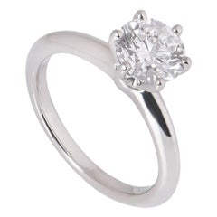 Tiffany & Co. Platinum Round Diamond Engagement Ring 1.24 Carat Triple Excellent