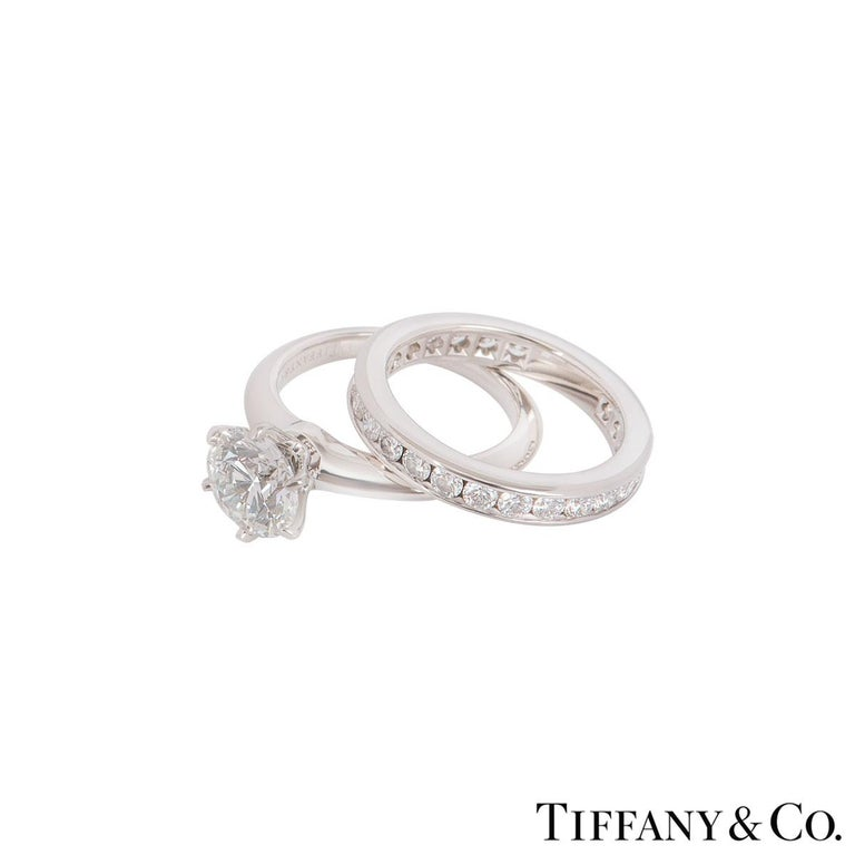 Round Cut Tiffany & Co. Platinum Diamond Ring 1.61 Carat with a Full Diamond Eternity Band For Sale
