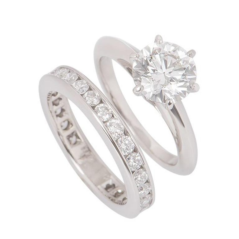 Tiffany & Co. Platinum Diamond Ring 1.61 Carat with a Full Diamond Eternity Band For Sale