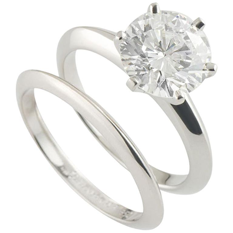 cc863d42c Tiffany & Co. Platinum Diamond Ring 2.04 Carat E/VVS2 with Matching Band  Ring