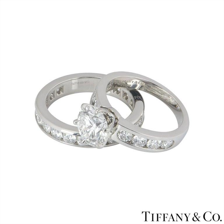Tiffany & Co. Platinum Diamond Ring 2.04 Ct w/ Diamond Full Eternity Ring   For Sale 1