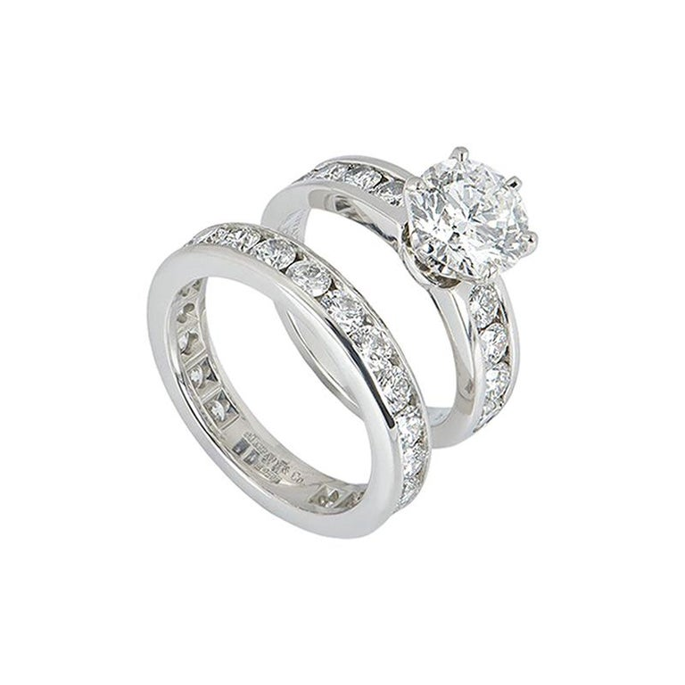 Tiffany & Co. Platinum Diamond Ring 2.04 Ct w/ Diamond Full Eternity Ring   For Sale