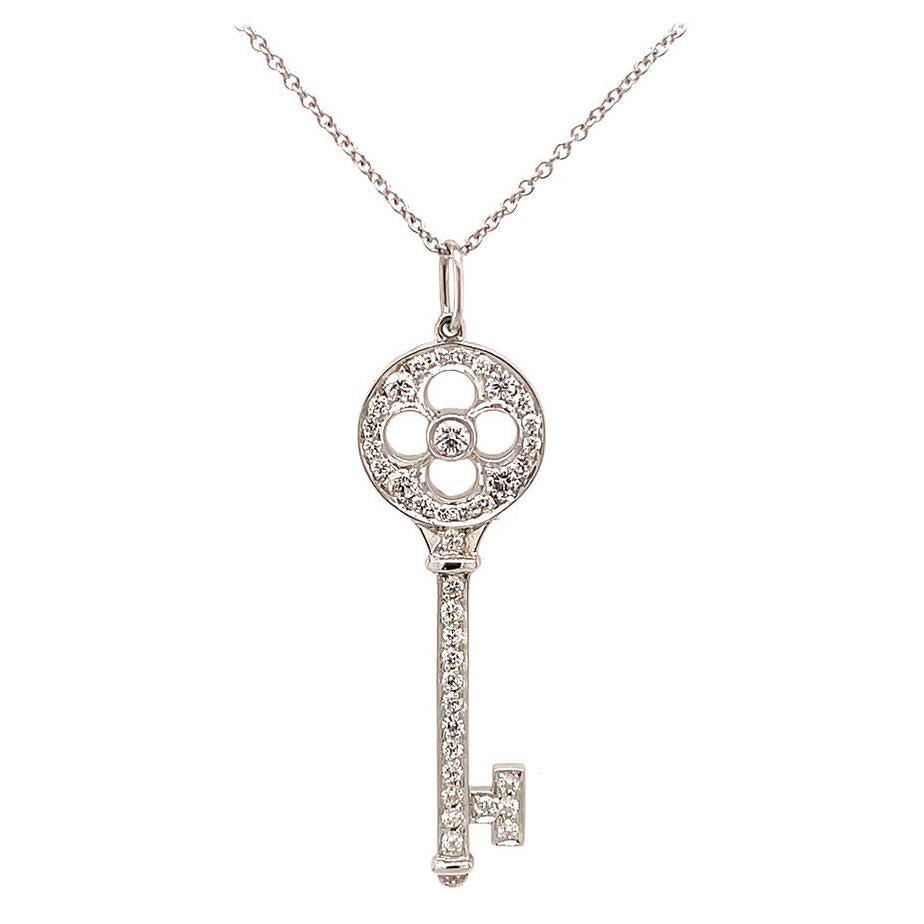 Tiffany & Co. Platinum Diamond Rose Key Pendant Necklace, Estate
