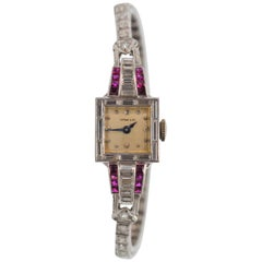 Tiffany & Co. Platinum Diamond Ruby Art Deco Ladies Wristwatch