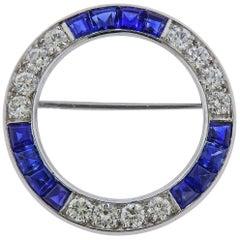 Tiffany & Co. Platinum Diamond Sapphire Circle Brooch Pin