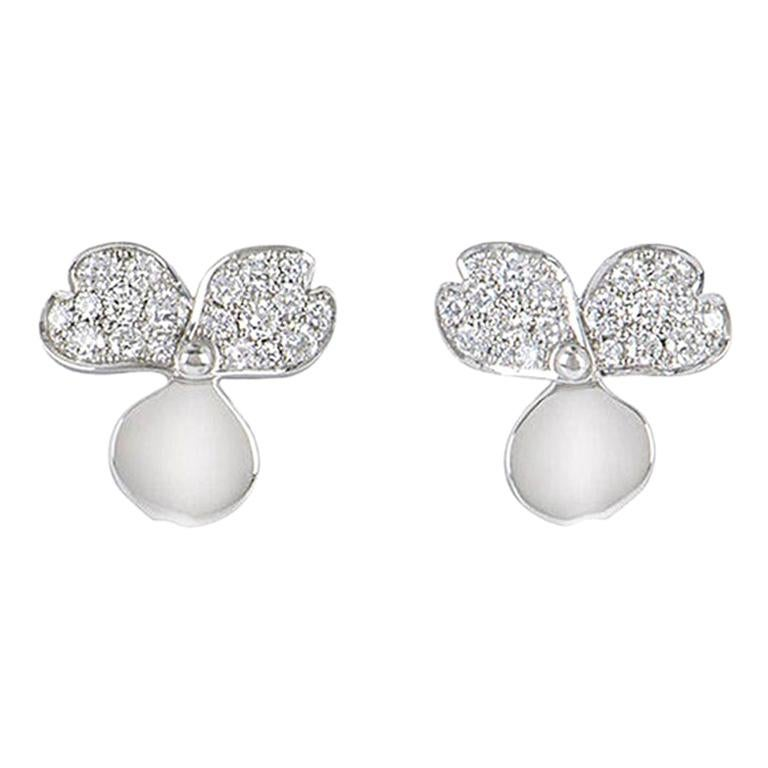 Tiffany & Co. Platinum Diamond Set Paper Flowers Earrings